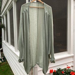 Francesca's ribbed sage green cardigan duster